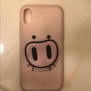iPhone X Pink Piggy Case With Popsocket